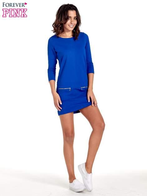 Niebieska sukienka ze złotymi suwakami                                  zdj.                                  2