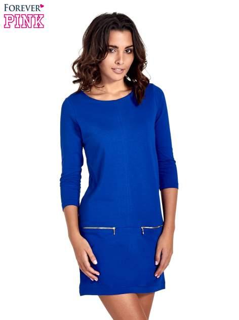Niebieska sukienka ze złotymi suwakami                                  zdj.                                  1