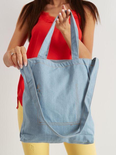 Niebieska torba materiałowa z nadrukiem                              zdj.                              3