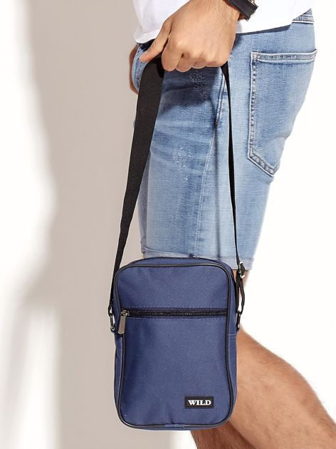 Niebieska torba męska materiałowa                              zdj.                              2
