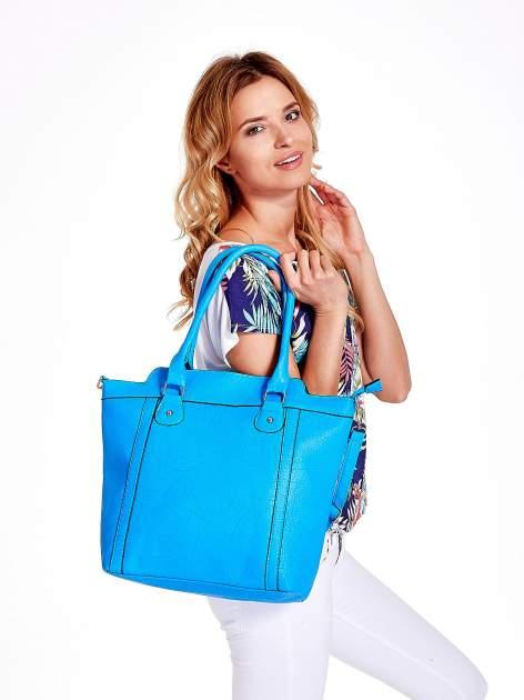Niebieska torba miejska z odpinanym paskiem                                  zdj.                                  6