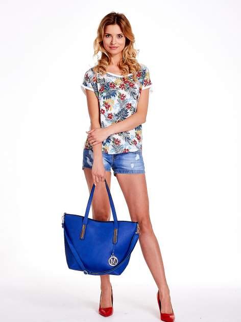Niebieska torba na ramię ze złotym emblematem                                  zdj.                                  2