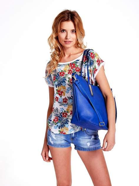 Niebieska torba na ramię ze złotym emblematem                                  zdj.                                  6