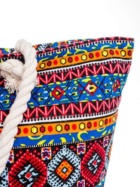 Niebieska torba plażowa w azteckie wzory                                  zdj.                                  8