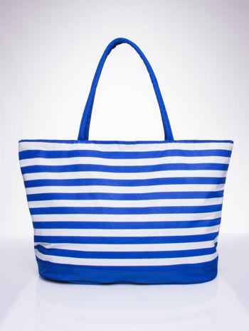 Niebieska torba plażowa w paski