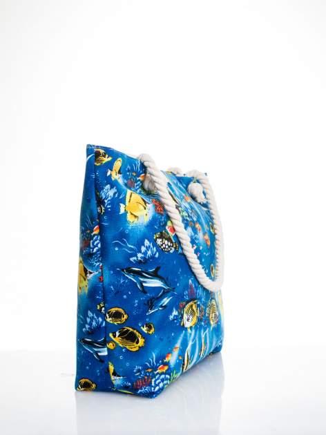 Niebieska torba plażowa z nadrukiem rafy koralowej                                  zdj.                                  3