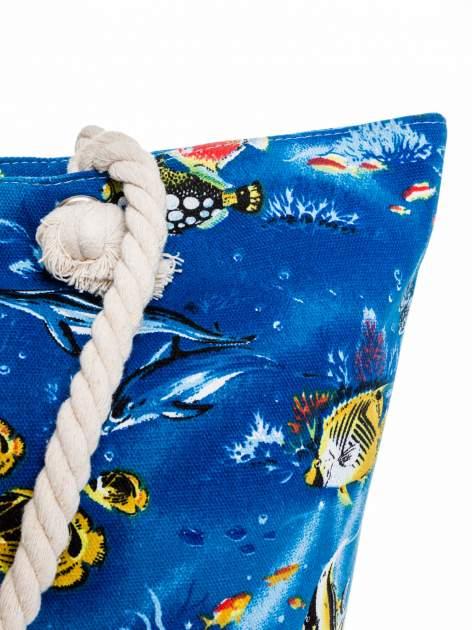 Niebieska torba plażowa z nadrukiem rafy koralowej                                  zdj.                                  7