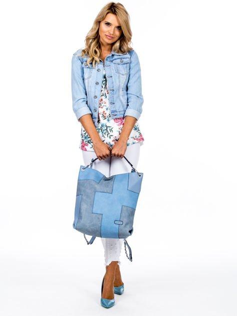 Niebieska torba-plecak z odpinanymi szelkami                              zdj.                              1