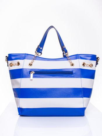 Niebieska torba shopper bag w pasy efekt saffiano                                  zdj.                                  3