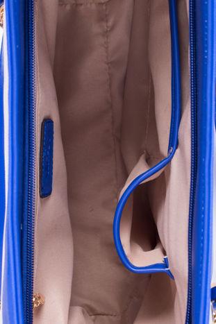 Niebieska torba shopper bag w pasy efekt saffiano                                  zdj.                                  4