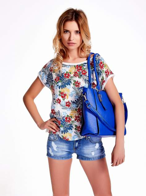 Niebieska torba shopper bag z odpinanym paskiem                                  zdj.                                  6