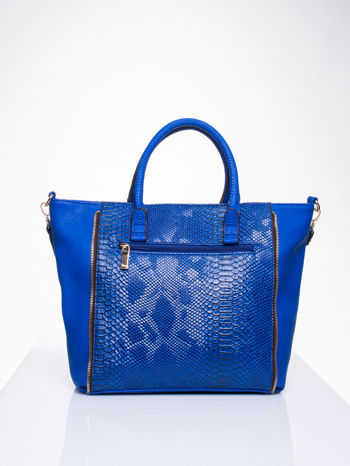 Niebieska torba shopper bag z wzorem skóry węża                                  zdj.                                  2