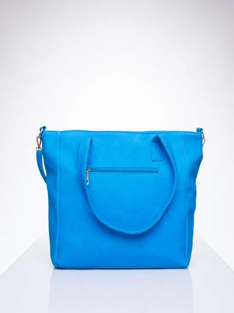 Niebieska torba shopper bag ze kieszeniami na klapki                                  zdj.                                  3