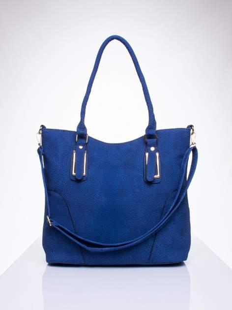 Niebieska torba shopper bag ze złotymi okuciami przy rączkach                                  zdj.                                  1
