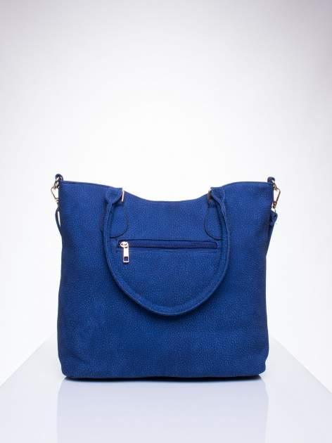 Niebieska torba shopper bag ze złotymi okuciami przy rączkach                                  zdj.                                  3