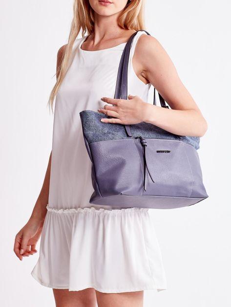 Niebieska torba shopper z materiałową wstawką