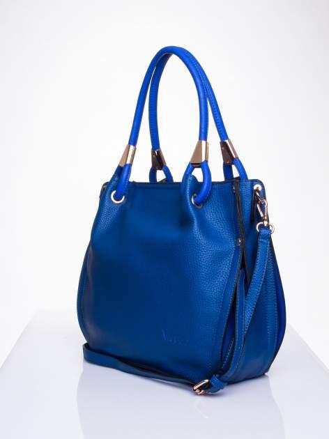 Niebieska torba z ozdobnym uchwytem                                  zdj.                                  3