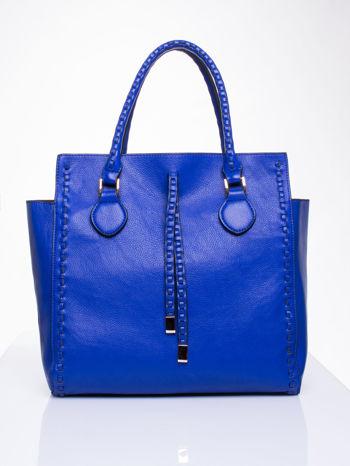 Niebieska torba z ozdobnymi skórzanymi troczkami                                  zdj.                                  2