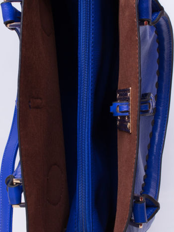 Niebieska torba z ozdobnymi skórzanymi troczkami                                  zdj.                                  5