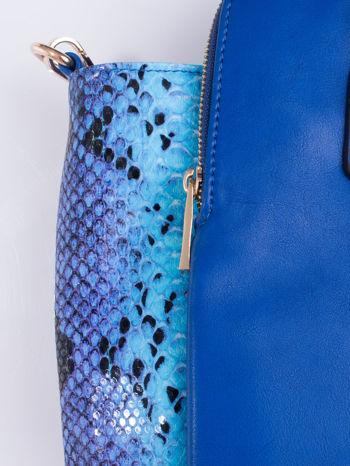 Niebieska torba z wstawkami animal print                                  zdj.                                  5