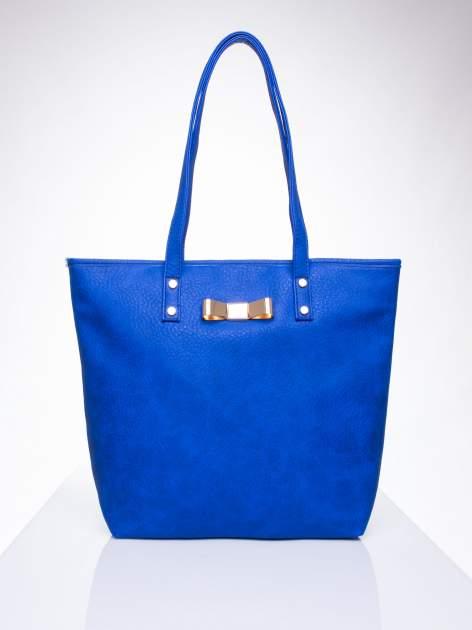 Niebieska torebka shopper bag z kokardką                                  zdj.                                  2