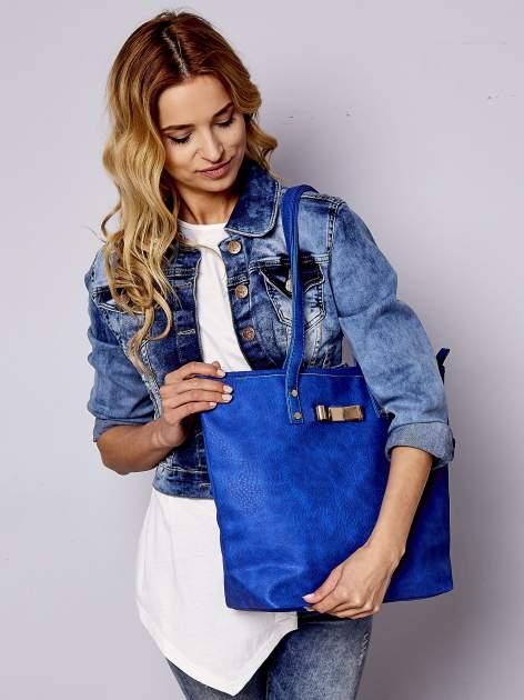 Niebieska torebka shopper bag z kokardką                                  zdj.                                  1