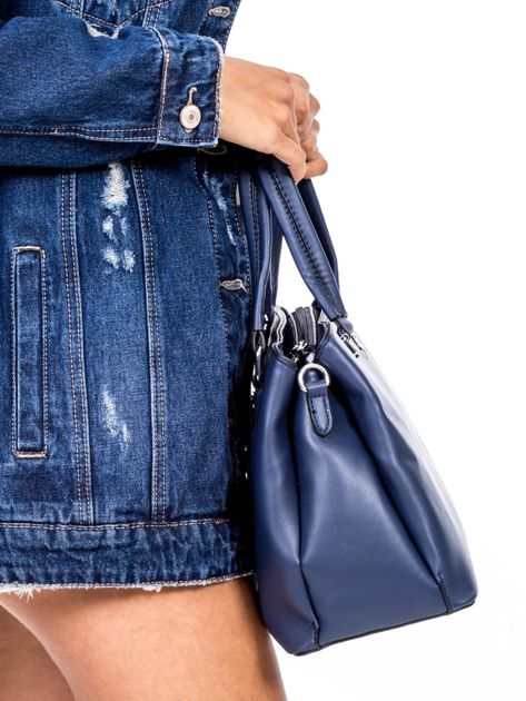 Niebieska trapezowa torebka kuferek do ręki                              zdj.                              3