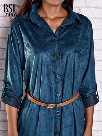 Niebieska zamszowa sukienka z rozcięciami po bokach                                  zdj.                                  5