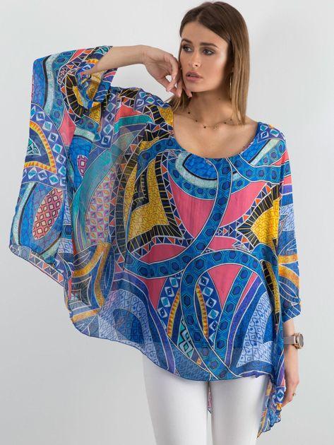Niebieska zwiewna bluzka we wzory