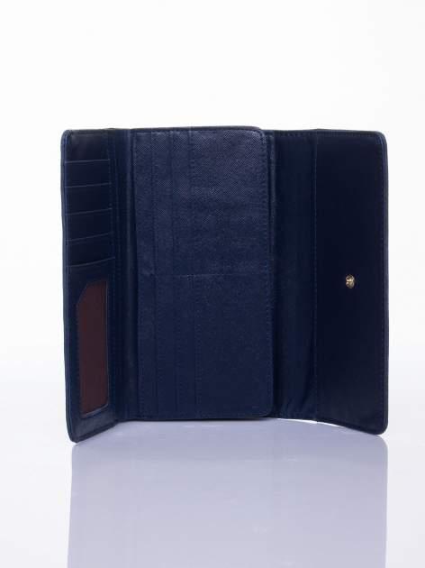 Niebieski ażurowany portfel ze złotym suwakiem                                  zdj.                                  3