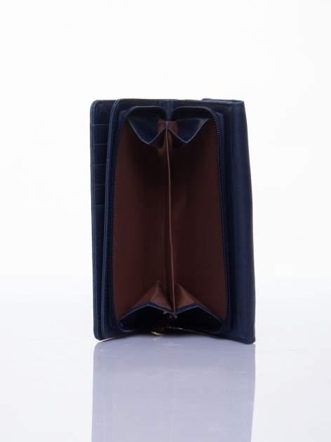 Niebieski ażurowany portfel ze złotym suwakiem                                  zdj.                                  4