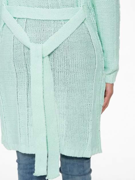 Niebieski ażurowy długi sweter typu kardigan z paskiem                                  zdj.                                  9