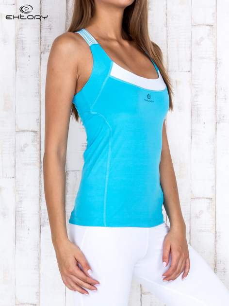 Niebieski gładki sportowy top z ramiączkami w paski                                  zdj.                                  3