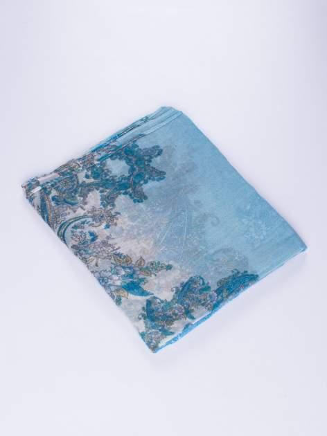 Niebieski komin we wzór paisley z kwiatowym akcentem                                  zdj.                                  2