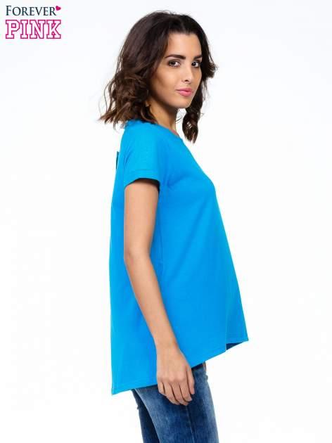 Niebieski luźny t-shirt                                   zdj.                                  3