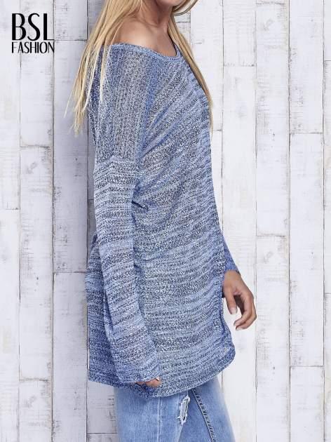 Niebieski melanżowy sweter z łezką na plecach                                  zdj.                                  4