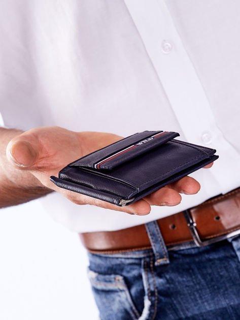 Niebieski męski portfel skórzany z zewnętrzną kieszenią                              zdj.                              4