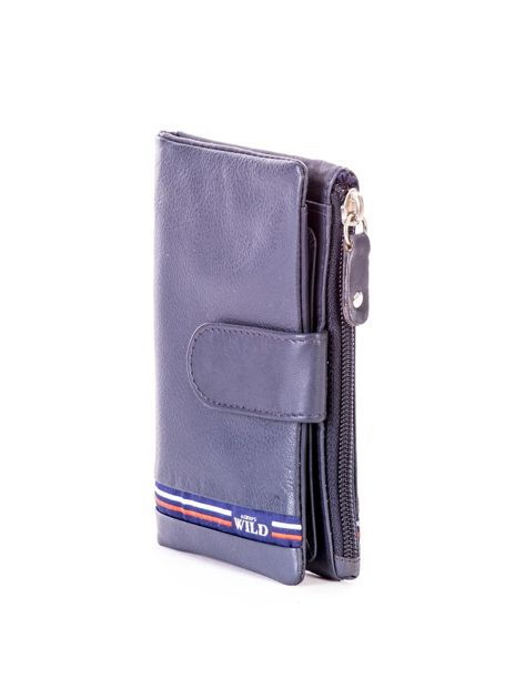 Niebieski miękki portfel ze skóry naturalnej z kieszenią na suwak                              zdj.                              3