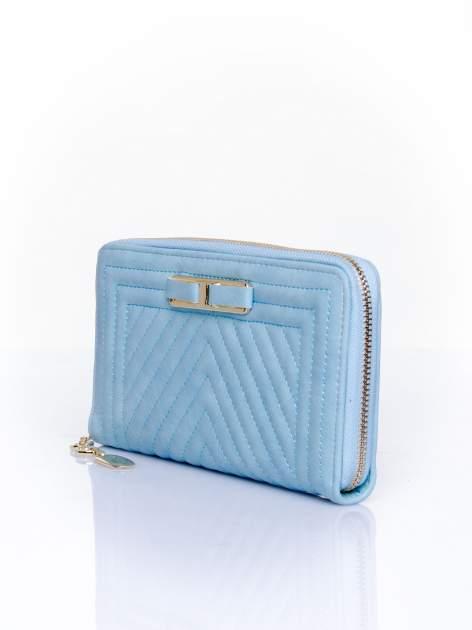 Niebieski pikowany portfel z ozdobną klamerką                                  zdj.                                  3
