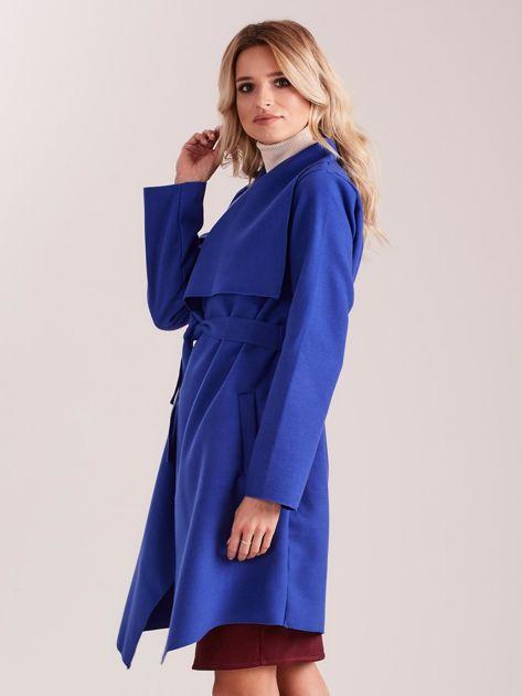 Niebieski płaszcz z kieszeniami i wiązaniem                              zdj.                              5
