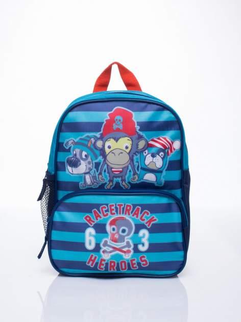 Niebieski plecak szkolny DISNEY w paski                                  zdj.                                  1