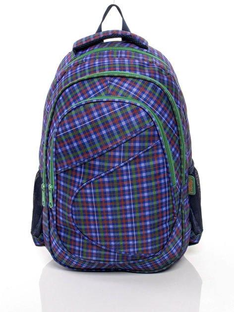Niebieski plecak szkolny z motywem kratki