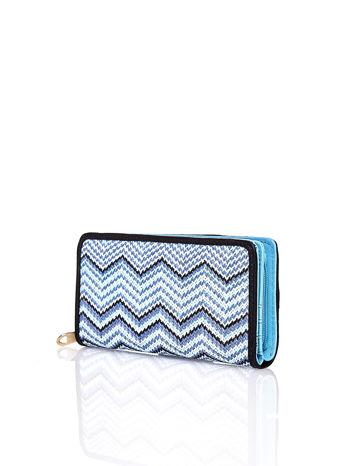 Niebieski pleciony portfel w geometryczne wzory                                  zdj.                                  2