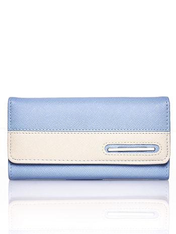 Niebieski portfel z beżowym wykończeniem                                  zdj.                                  1