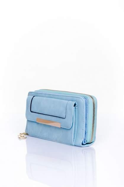 Niebieski portfel z kieszonką ze złotym elementem                                  zdj.                                  3