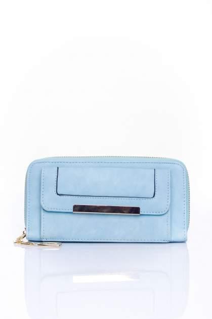 Niebieski portfel z kieszonką ze złotym elementem                                  zdj.                                  1