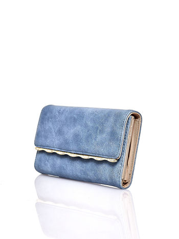 Niebieski portfel z ozdobną aplikacją                                  zdj.                                  3