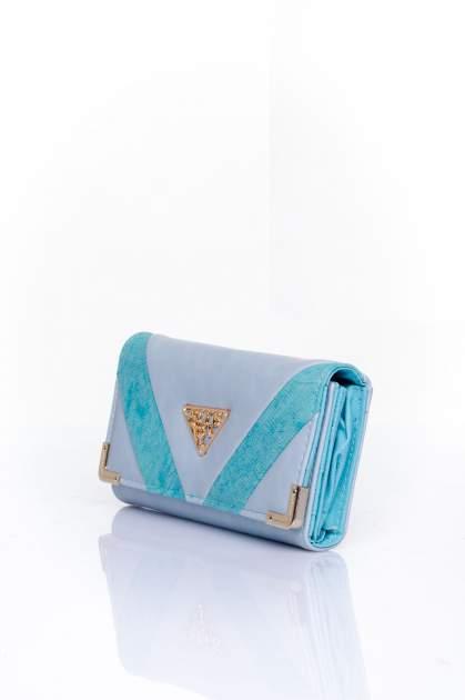 Niebieski portfel z ozdobnym detalem i złotymi okuciami                                  zdj.                                  3
