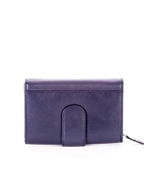 Niebieski skórzany portfel z zapięciem                              zdj.                              2