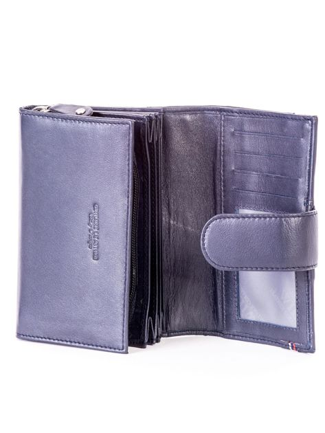 Niebieski skórzany portfel z zapięciem                              zdj.                              5